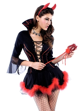 Ericdress Cross Sexy Hollow Fur Hem Demon Cosplay Costume
