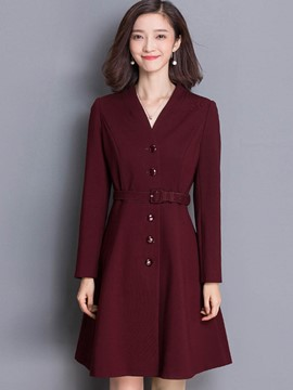 Ericdress Solid Color Slim V-Neck Belt Trench Coat