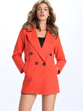 Ericdress Solid Color Double-Breasted European Coat