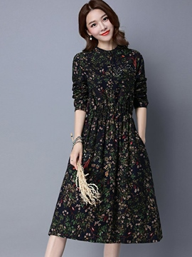 Ericdress Pastoral Floral Button Pleated Casual Dress