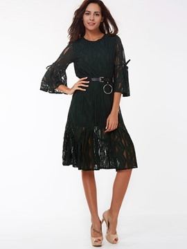 Ericdress Solid Color Flare Sleeve Round Neck Lace Dress
