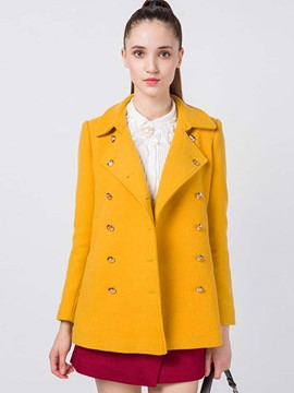 Ericdress Double-Breasted Solid Color Polo Coat