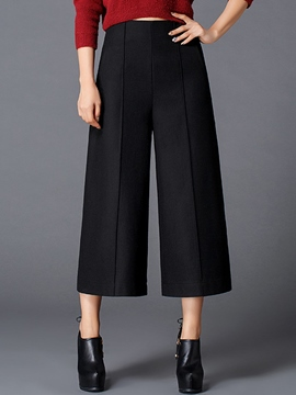 Ericdress Plain Color High-Waist Thick Wide Legs Pants