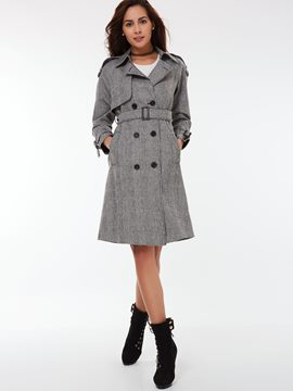 Ericdress Plaid Slim Trench Coat