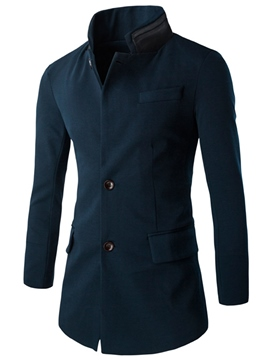 Ericdress Patchwork Stand Collar Mid-Length Slim Men's Blazer