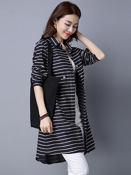 Ericdress Stripe Single-Breasted Blouse