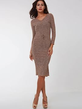 Ericdress Solid Color V-Neck Long Sleeve Knitted Sheath Dress