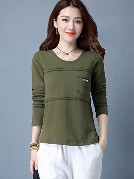 Ericdress Pocket Plain Casual T-Shirt