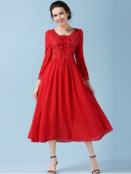 Ericdress Plain Lace-Up Ankle-Length Pleated Casual Dress