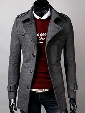 Ericdress Single-Breasted Plain Slim Men's Woolen Coat