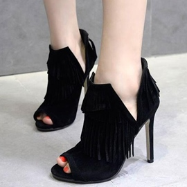 Ericdress Black Suede Fringe Stiletto Sandals
