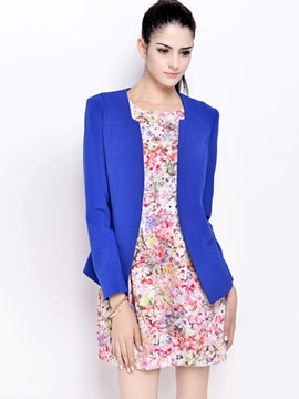 Ericdress Solid Color V-Neck Wrapped Blazer
