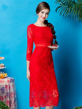 Ericdress Elegant 3/4 Sleeve Zipper Up Lace Knee Length Cocktail Party Dress