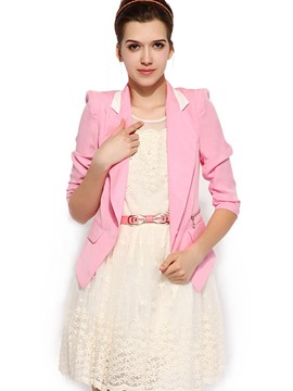 Ericdress Slim Color Block Sweet Blazer