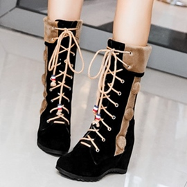 Ericdress Chic Elevator Heel Lace up Knee High Boots