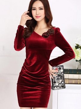 Ericdress Appliques V-Neck Long Sleeve Bodycon Dress