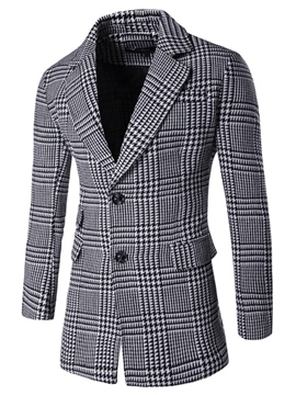 Ericdress Mid-Length Plaid Slim Men's Woolen Coat