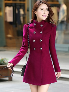 Ericdress Plain Double-Breasted Slim Coat