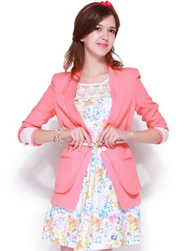 Ericdress Color Block Slim One-Button Blazer