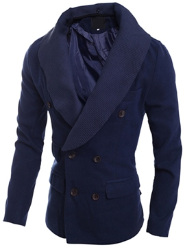 Ericdress Knit Collar Double-Breasted Vogue Slim Men's Trench Coat
