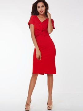 Ericdress Plain V-Neck Pleated Short Sleeve Sheath Dress
