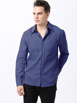 Ericdress Solid Color Denim Long Sleeve Men's Shirt