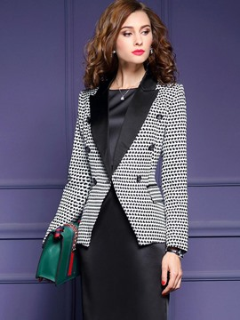 Ericdress Color Block Double-Breasted Slim Blazer