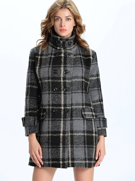 Ericdress Straight Plaid Stand Collar European Coat