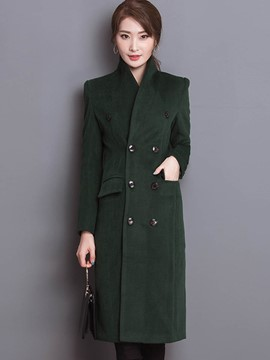Ericdress Slim Double-Breasted Stand Collar Coat