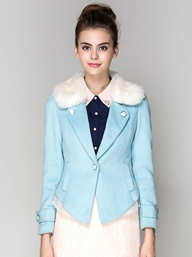Ericdress Color Block V-Neck Sweet Coat