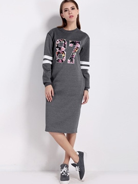 Ericdress Sport Floral Print Zipper Knee-Length Casual Dress