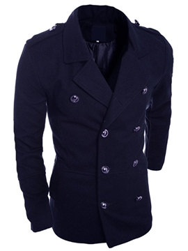Ericdress Double-Breasted Plain Slim Men's Trench Coat