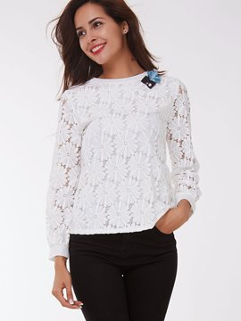 Ericdress White Floral Crochet Blouse