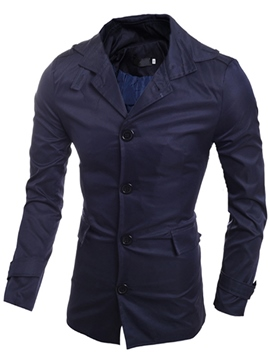 Ericdress Single-Breasted Simple Plain Slim Men's Trench Coat