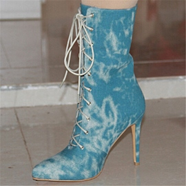 Ericdress Special Denim Lace up High Heel Boots