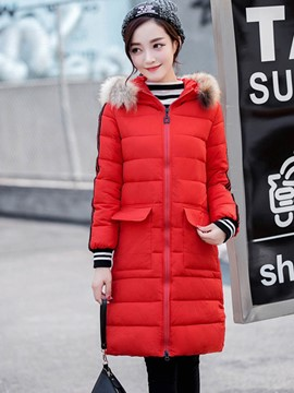 Ericdress Straight Color Block Stripped Cotton Coat