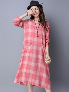 Ericdress Plaid Pocket Patchwork Mid-Calf Casual Dress