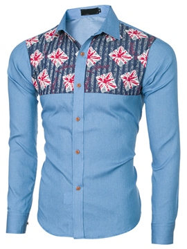 Ericdress Long Sleeve Patchwork Denim Casual Men's Shirt