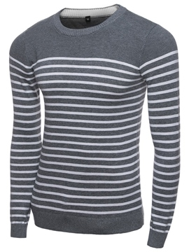Ericdress Stripe Crew Neck Pullover Men's Sweater