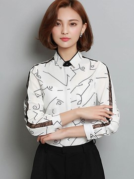 Ericdress Lapel Printed Hide Button Blouse