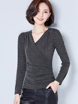 Ericdress Wrap Front V-Neck Slim T-Shirt