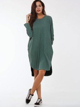 Ericdress Plain Loose Round Neck Sweater Dress