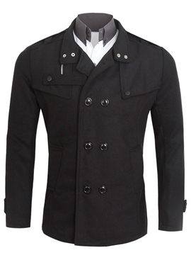 Ericdress Double-Breasted Stand Collar Casual Men's Coat