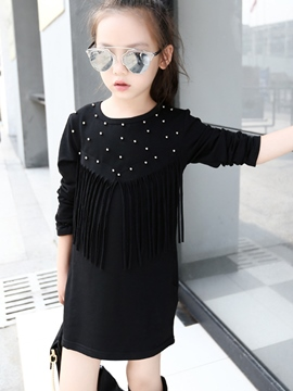 Ericdress Tassel Bead Plain Girls Dress