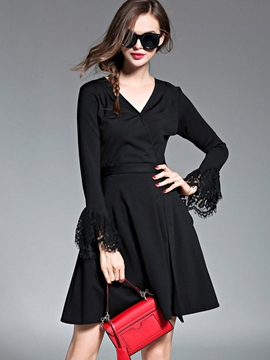 Ericdress Lace Flare Sleeve V-Neck Above Knee Casual Dress