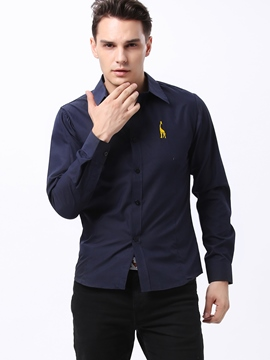 Lapel Single-Breasted Long Sleeves Men's Shir