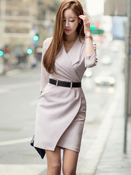 Ericdress Solid Color Notched Lapel Asymmetric Bodycon Dress