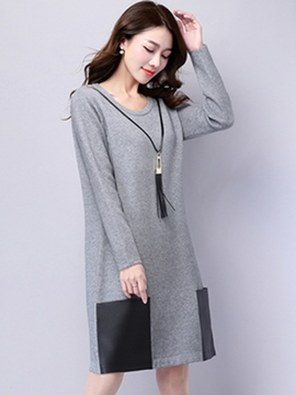 Ericdress Round Collar Pocket Patchwork Casual Dress