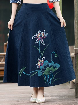 Ericdress Chinese Print Usual Skirt