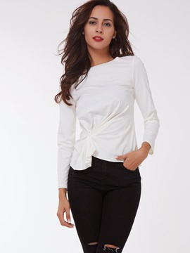 Ericdress White Knot Pleated Slim T-Shirt